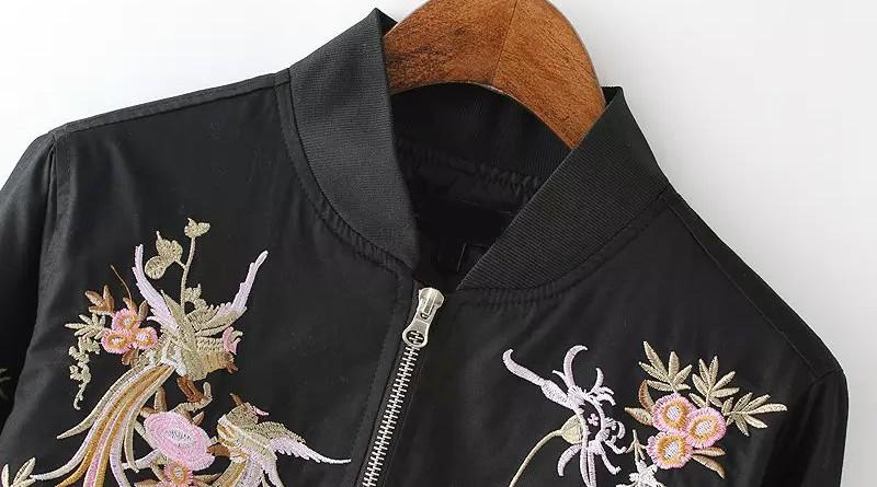 Black Embroidered Jacket Front