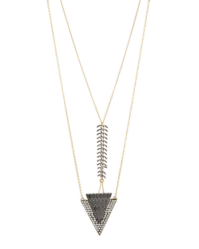 Lydell NYC Triangle Layered Chain Necklace
