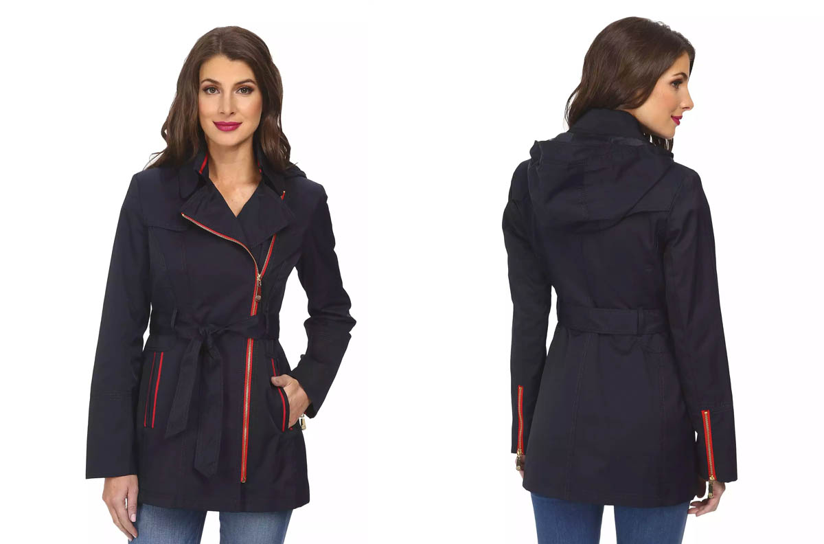 Vince Camuto Contrast Piping Trench Coat