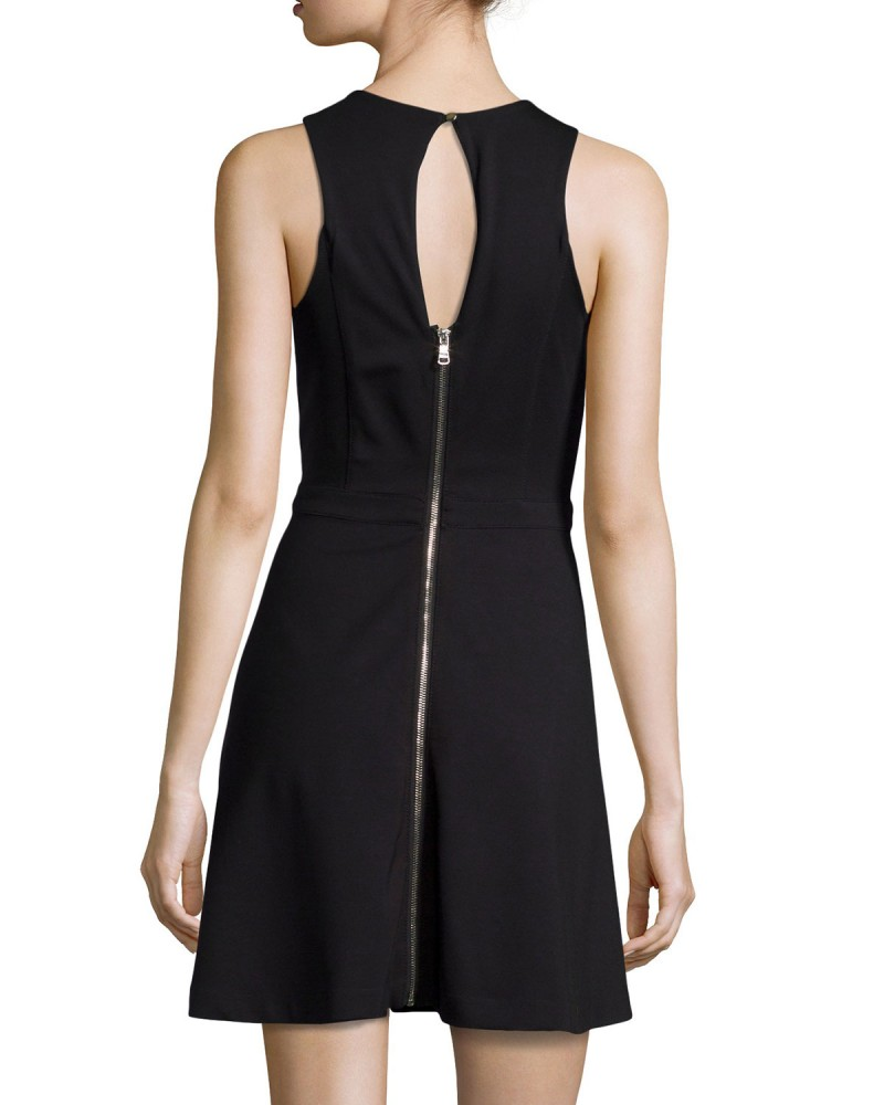 Dex Faux Fit Flare Leather Dress Back