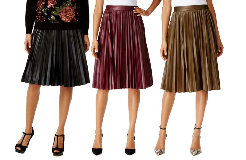 Grace Element Faux Leather Pleated Midi Skirts
