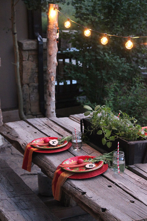 string lights patio dining table