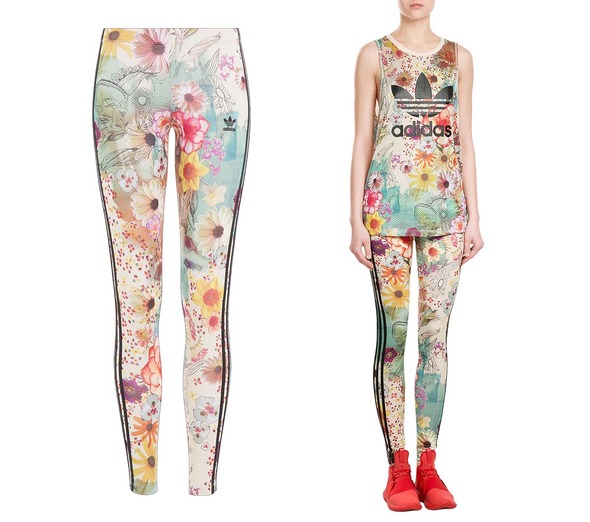 Adidas Originals Floral Print Leggings and Tank