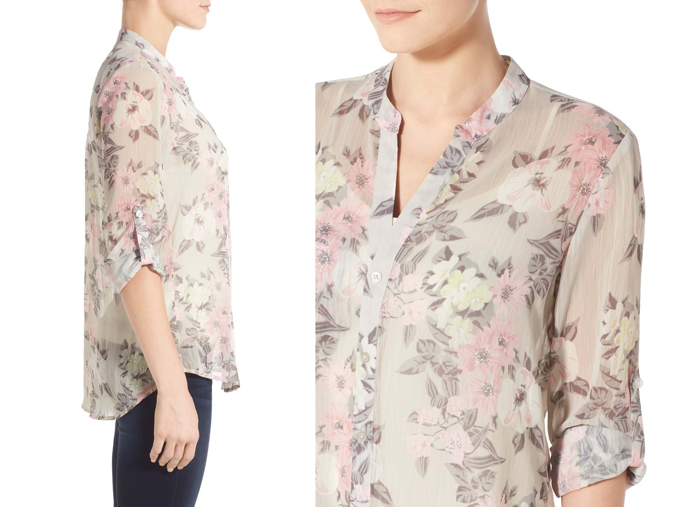 Kut from the Kloth Jasmine Floral Roll Sleeve Shirt
