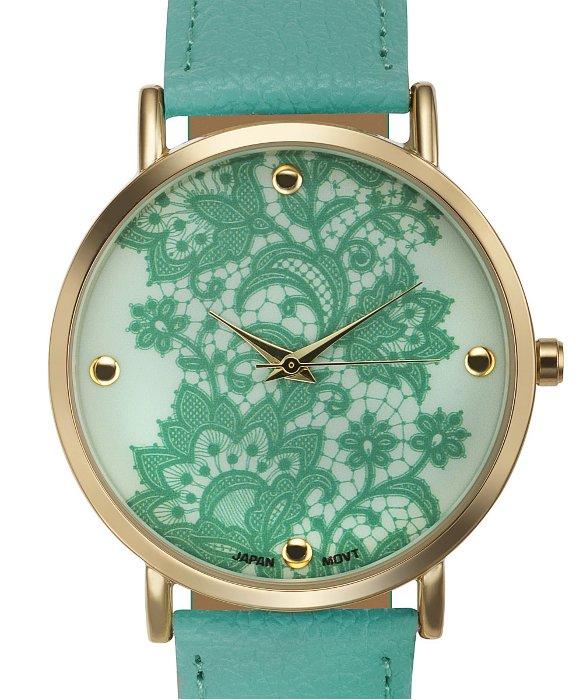 Rosseau Lace Overlay Watch - Mint