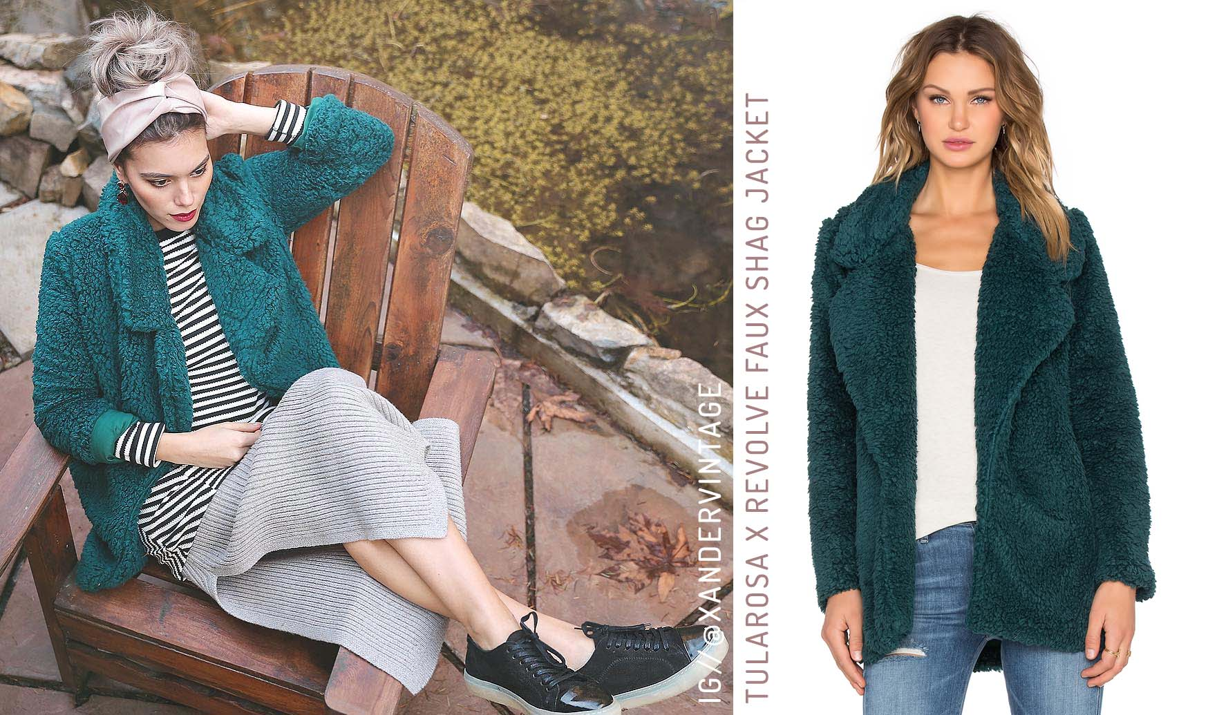 Tularosa X Revolve Faux Shag Jacket Dark Green