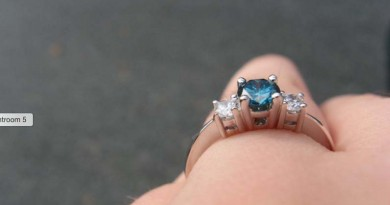 Blue Stone and Diamond Engagement Ring