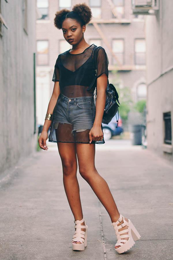 Neon Fox - High Waist Shorts & Mesh Top
