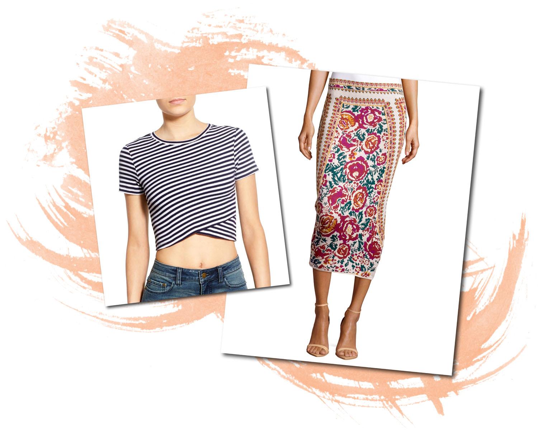 BP Crop Tee Romeo Juliet Couture Floral Skirt