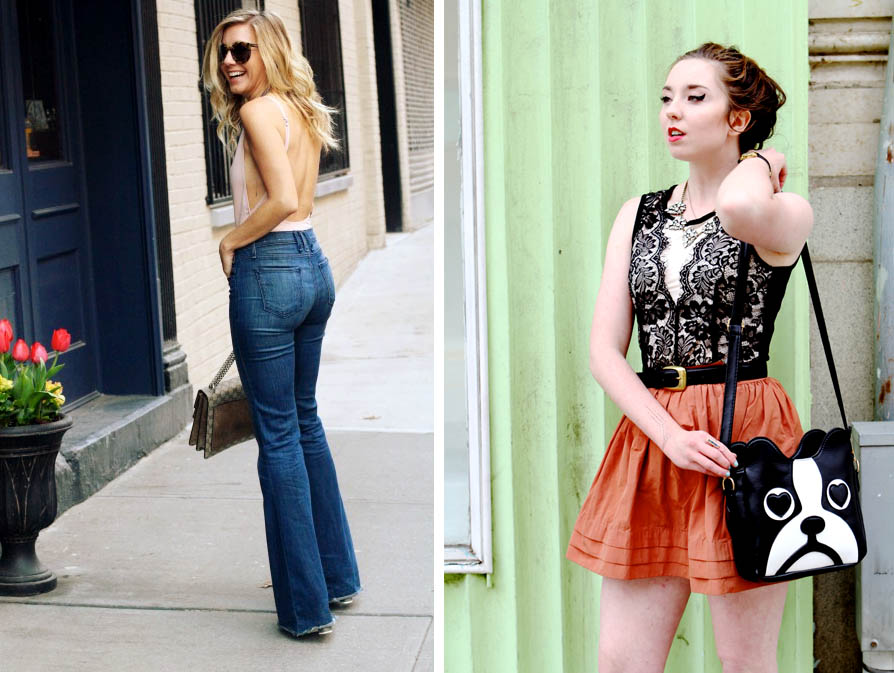 Bodysuit Outfits High Waist Flares & Lace w/ Orange Skirt