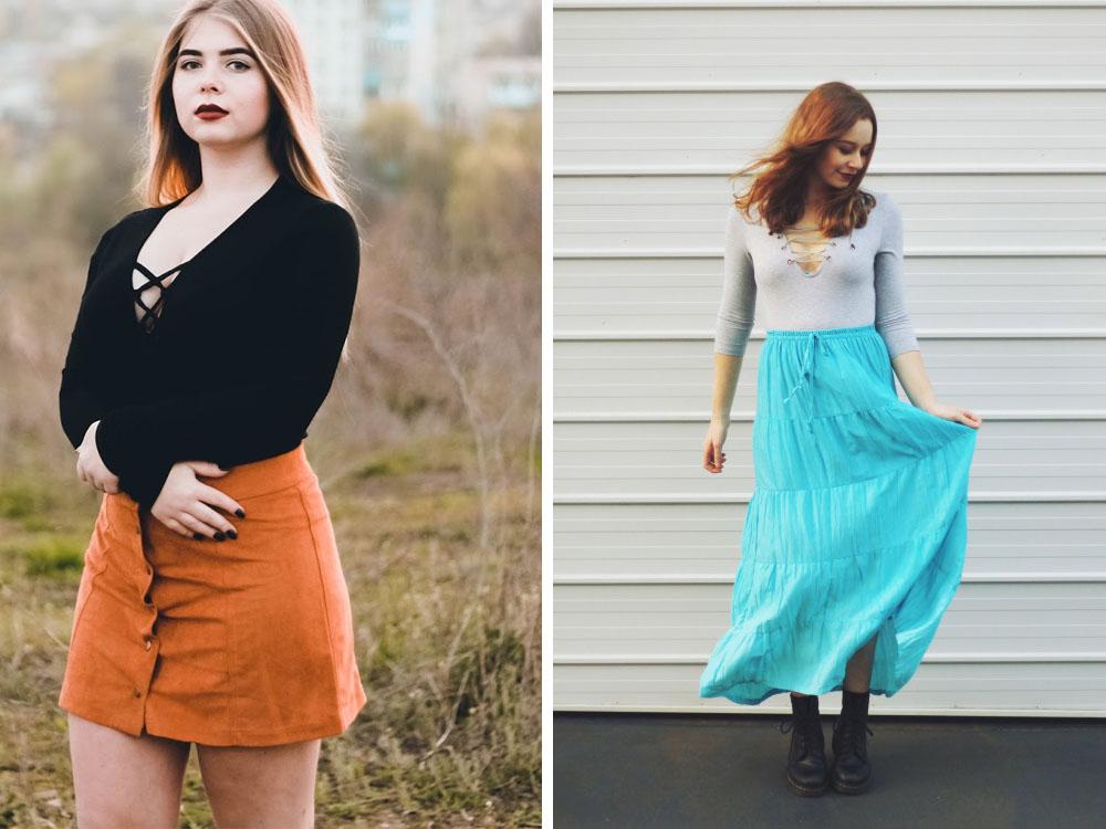 Bodysuit Outfits: Orange Skirt & Blue Maxi Skirt
