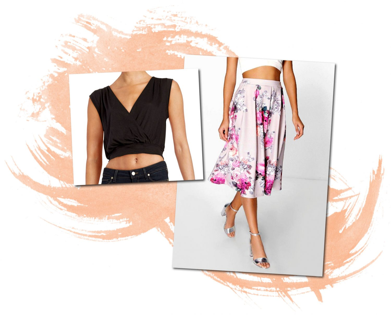 Free People Crop Top Boohoo Floral Midi Skirt
