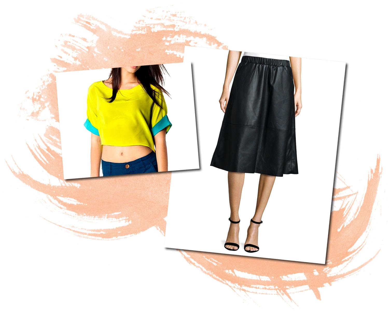 Naven Cropped Kimono Bagatelle Faux Leather Midi Skirt