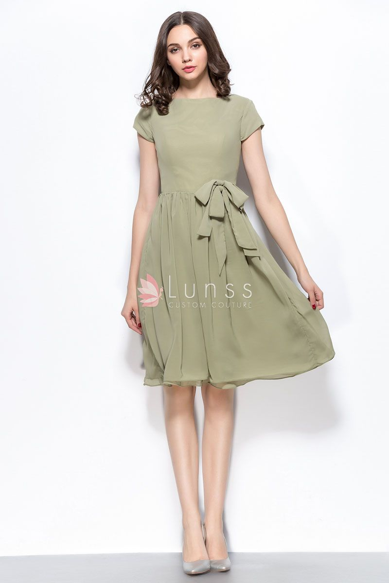 short-sleeve-knee-length-bridesmaid-homgecoming-dress-2