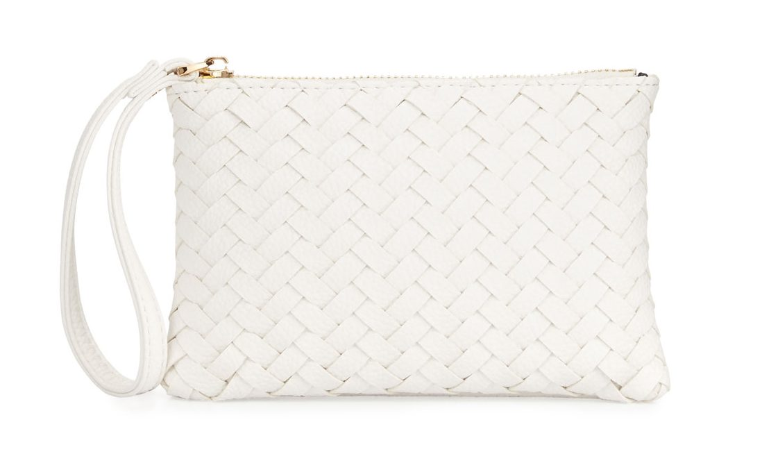 Neiman Marcus Faux Leather White Wristlet Clutch