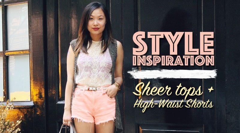 Sheer Top High Waist Shorts feat