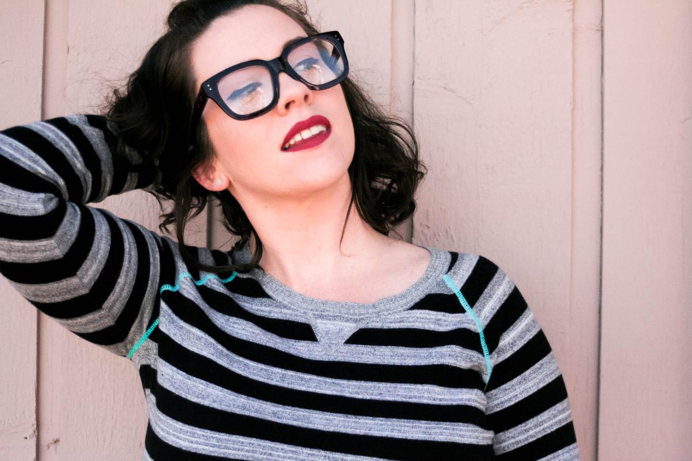 Schoola Grey Stripe Aqua Seam Sweater
