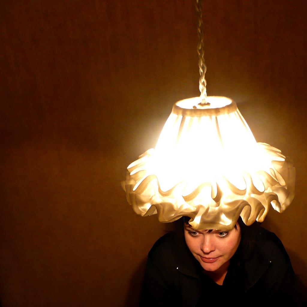 lampshade hat girl lamp