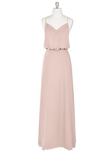 blush pink strappy wedding bridesmaid dress