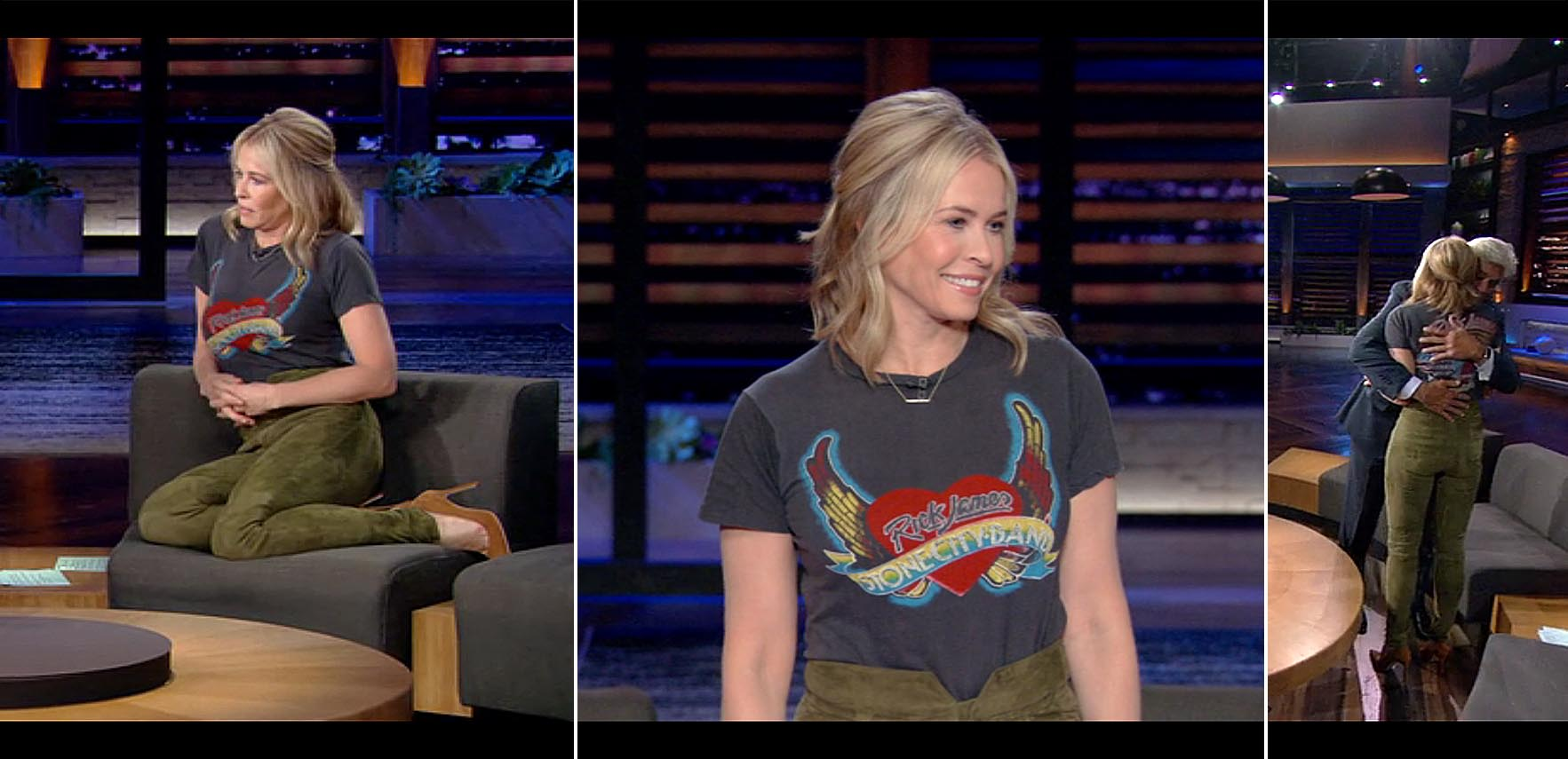 Chelsea Handler's Netflix Style: Band Tee and Velvet Pants
