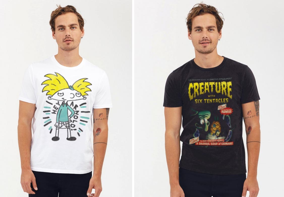 Vintage Nickelodeon x Junk Food: Hey Arnold and Spongebob T-Shirts