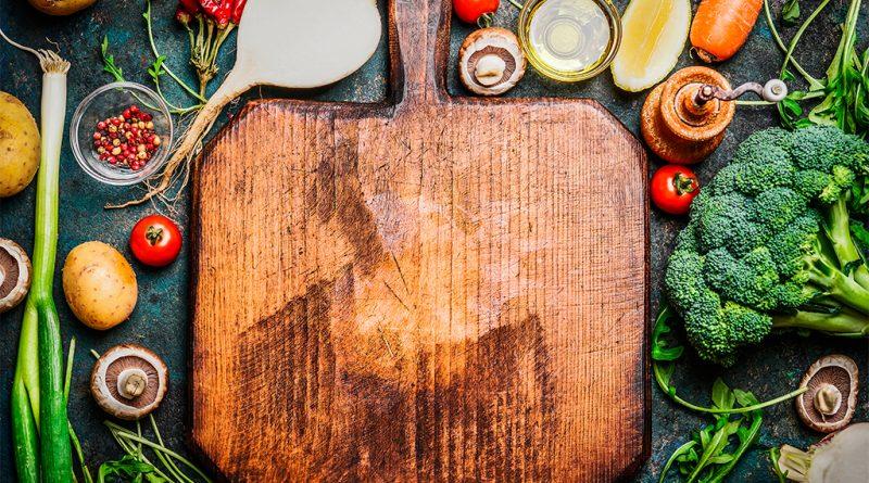 cutting board fresh vegetables