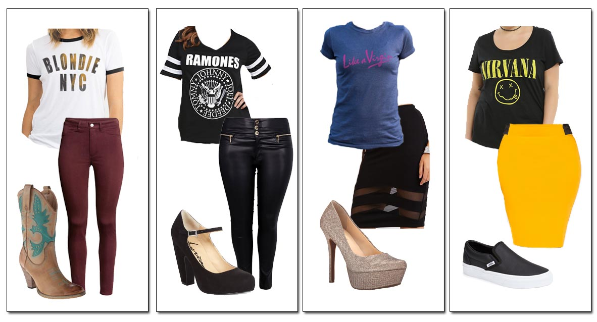 Chelsea's Style: Band T-Shirts with High-Waist Pants and Skirts