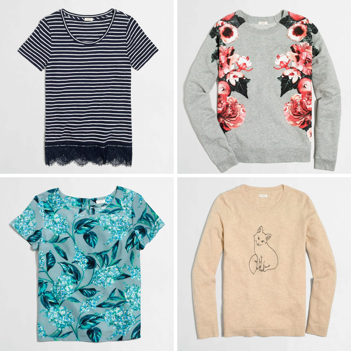 floral tees and quirky sweaters