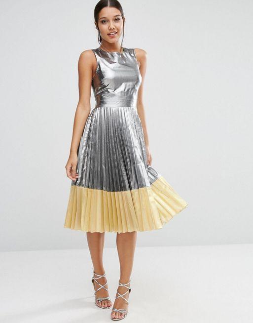 ASOS Silver Pleated Midi Dress