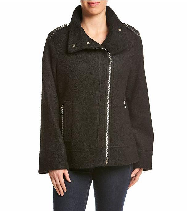 Calvin Klein Asymmetrical Zip Boucle Jacket