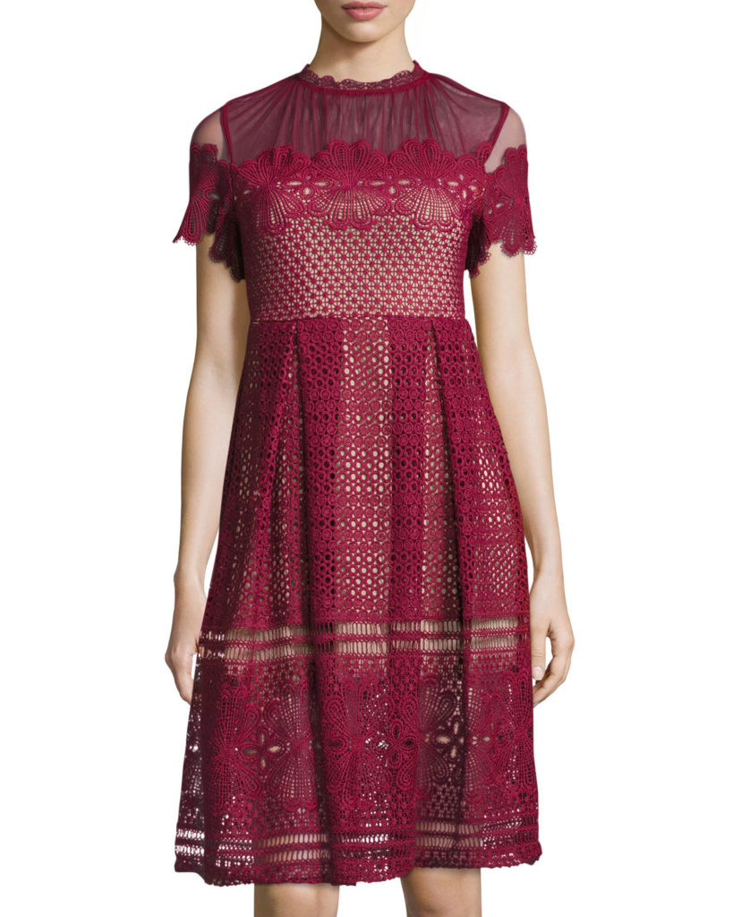 Free Generation Short Sleeve Mock Neck Lace Dress