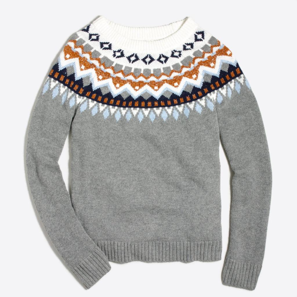 J Crew Factory Metallic Fair isle Sweater