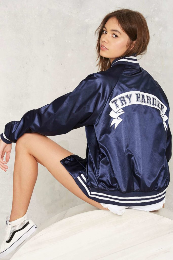 NastyGal Stay Cute Try Harder Bomber Jacket
