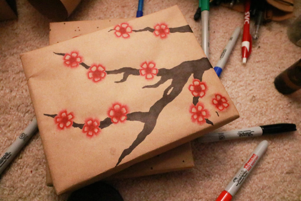 DIY Wrapping Paper - Sharpie Watercolor Flower Blossoms